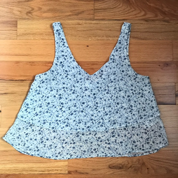 Garage Tops - Floral cropped layered tank top